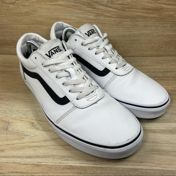 Vans Old Skool White Leather Skate Shoes